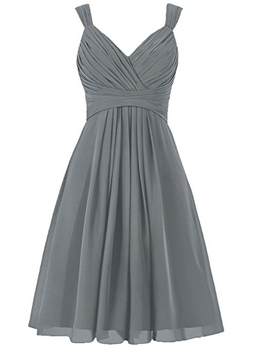 H.S.D Women's V Neck Straps Chiffon Bridesmaid Dress Short Pleated Prom Gown