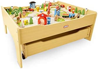 Little Tikes Real Wooden Train Table Set for Kids Deluxe Over 80Piece Hand Painted Wooden SetTracks Trains & Accessories