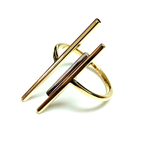 14k Yellow Gold Triple Bar Bypass Ring, Size 8 ()
