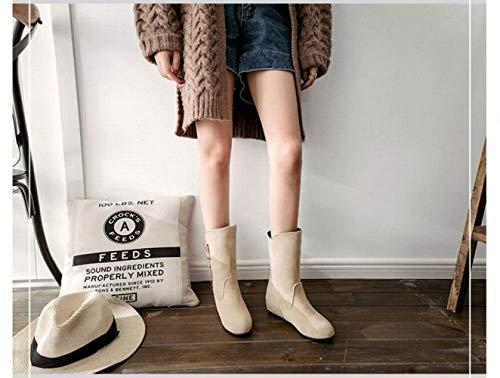 Mujer Del Cómodas aumento Pulir Para De 43 Calientes Cabeza El Oeste Botas 34 Altura Tubo botas Redonda Mujer Xdx En Bq67F6