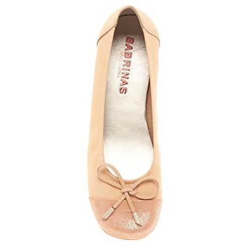 Sabrinas 32912 Women's Square Toe Ballerina In Nude Nubuck 22 MAQUIAJA Aqh3jR
