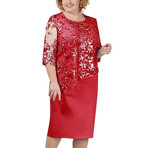 Toimothcn Women Elegant Sequin Wedding Dress Plus Size Lace Sleeve Mother of The Groom/Bride Dresses S-5XL(Red,XXXXL)