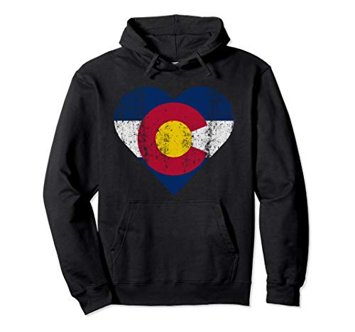 State of Colorado Flag Heart Gift Distressed Retro Women Men Pullover Hoodie