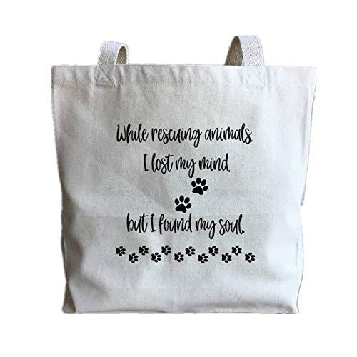 - Animal Rescue Gift - Animal Shelter - Animal Lover - Cat Mom - Dog Mom - Pet Adoption - Pet Rescue - Animal Rescuer - Large Canvas Tote Bag