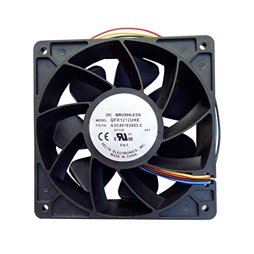 Lebeauty 7500RPM Cooling Fan Replacement 4-pin Connector for Antminer Bitmain S7 S9 for Workstation Cooling/Server CPU Cooling Black 120 x 120 x 38mm ()