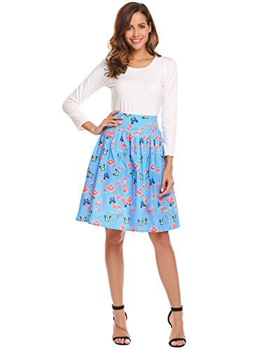 Glamour Vintage Blouse (Midi A-line Pleated Floral Skirt, Women's Flare Flower Print Vintage High Waist Knee Length Flowy Skirts for Girls Sky Blue XX-Larege)