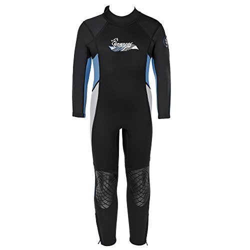 Seavenger 3mm Kids Full Body Wetsuit with Knee Pads for Surfing, Snorkeling, Swimming (Pearl Blue, (Long Wetsuit)