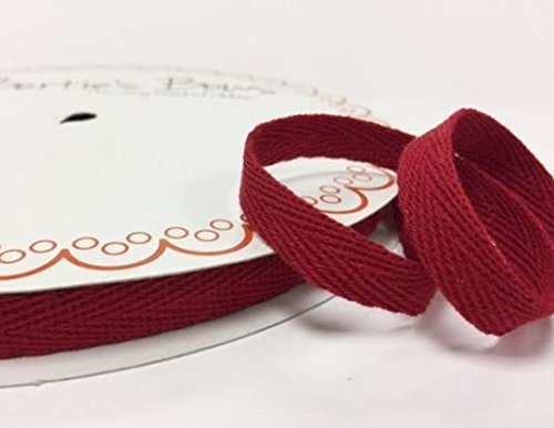 Bertie's Bows 10mm Cranberry Cotton Herringbone Tape/Webbing on a 4m Length (N.B. this is a cut from a roll, presented on a Bertie's Bows card) Bertie's Bows