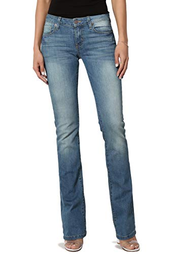 Back Zip Jeans Bootcut - TheMogan Women's Washed Stretch Denim 32 Mid Rise Slim Boot Cut Jeans Light 1