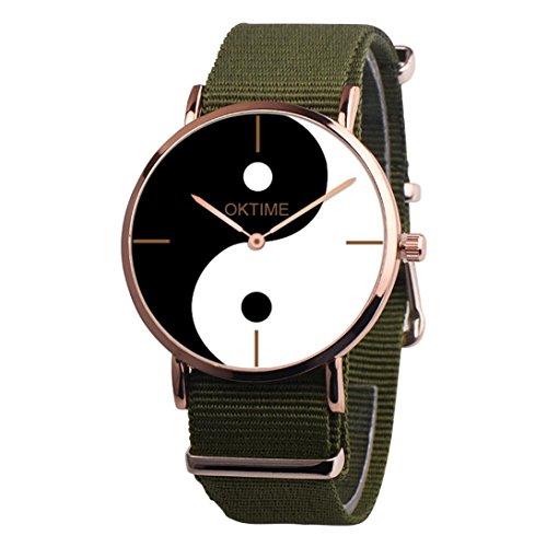 - vmree Men Women Vogue Chinese Taoism Yin and Yang Dial Quartz Wrist Watch Canvas Band Analog Dress Watch Ideal Gift (Green)