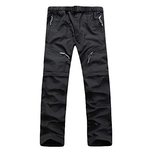 Creazrise Men's Convertible Pants Quick Dry Cargo Pants Lightweight Comfort Stretch for Hiking Travel, 5 Pockets (Black,XXL) ()