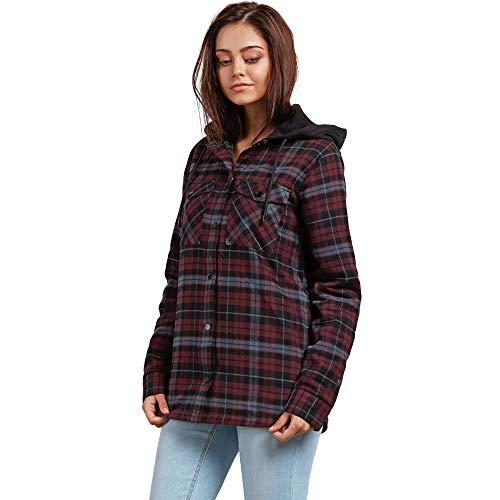 Volcom Women's Hooded Yarn Dye Flannel Snow Jacket Merlot