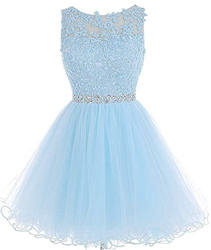 (Chugu Short Prom Party Dress Homecoming Dresses for Women Teens A Line Tulle Beaded C6 Lightblue 2)