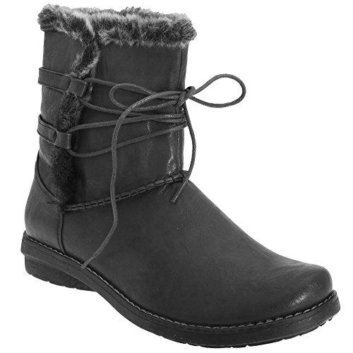 Katter Ögon Kvinnor / Damer Spets Trim Faux Pälskrage Boots Svart