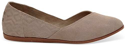 TOMS Women's 10009832 Suede Diamond Jutti Pointed Toe Flat, Taupe, 7 M US