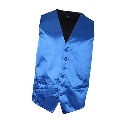 Prettyia Chaleco De Traje Corte Entallado Formal Hombres De Negocios Sólido Suave Cómoda Elegante Sensación - Azul, M