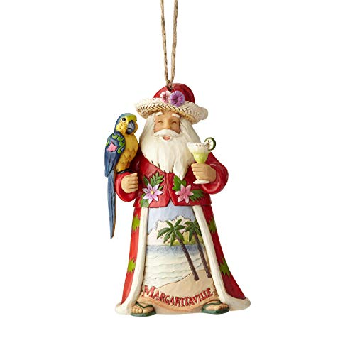 Large Santa Hanging Ornaments - Enesco Margaritaville by Jim Shore Santa with Parrot Hanging Ornament, 4.5