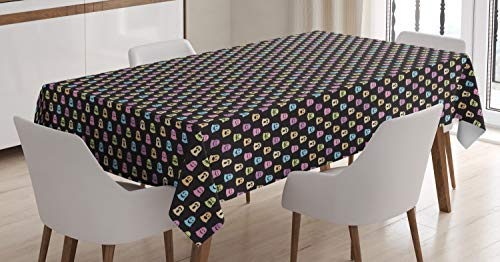 Lunarable Halloween Tablecloth, Minimal Design Little Colorful Ghost Trick or Treat Horror Spooky Fun, Dining Room Kitchen Rectangular Table Cover, 52
