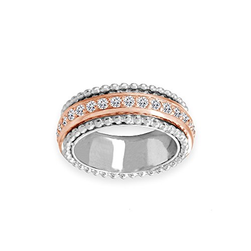 - Two-Tone Rose Gold Flashed Sterling Silver Cubic Zirconia Round Polished Spinner Band Ring, Size 6