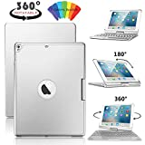 2017 iPad 9.7'' Bluetooth Keyboard Case, 7 Color Backlit Wireless Keyboard 360 Rotate Folio Slim Protective Cover with Auto Sleep/Wake for iPad Air 2/1,Pro 9.7, 5th Gen 6th Gen 9.7 2018 (Silver)