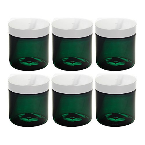 (4 oz Green Plastic Jar with White Foam Lined Air Tight Lid (6 Pack) + Spatulas and Labels)