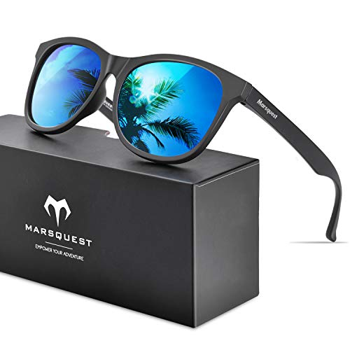 Polarized Sunglasses for Men Women, Anti-Slip Sport Sunglasses UV 400 Protection (Carbon BlAck & Neon ()