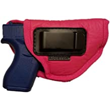 Pink ECO LEATHER Gun Concealment Soft Holster Inside The Waistband IWB With Clip fits Compacts Like Glock 26/27/33, S&W Shield / MPc,XDS,Taurus 709 / ProC, Walther P22,Beretta Nano,SCCY SKY,RUGER LC9