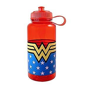 Silver Buffalo WW9030 Wonder Woman Plastic Pull Top Water Bottle, 33-Ounces