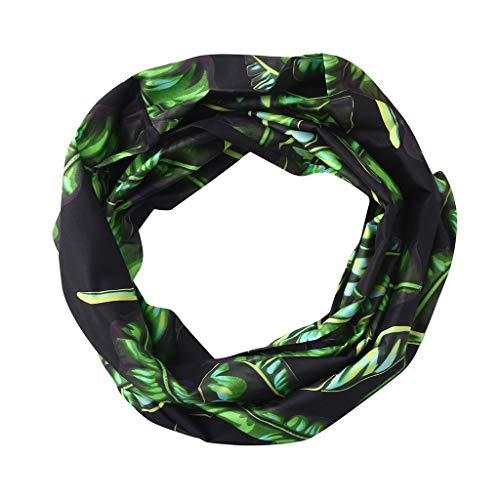 Price comparison product image Clearance Sale! MatureGirl Women Print Winter Convertible Infinity Loop Scarf Zipper Pocket Scarves Travel Scarves (Black)