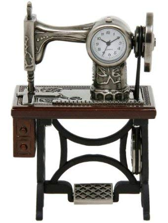 Miniature Old Fashioned Sewing Machine on Table Novelty Desktop Collectors Clock