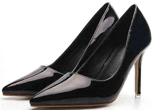 C Trabajo Charol Faux Zapatos Mujer BIGTREE De Stiletto 0qfvAf
