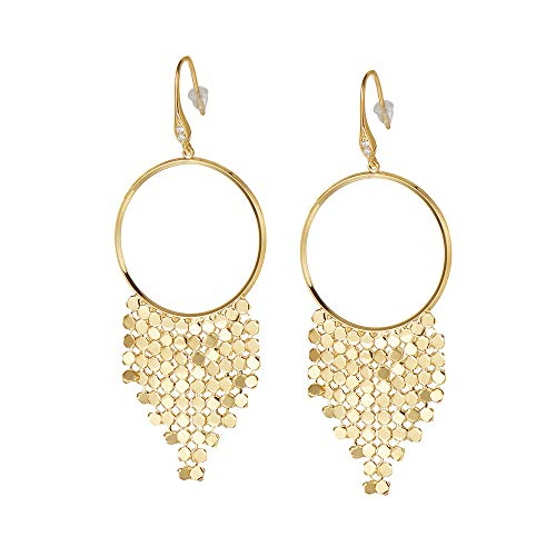 - FANCIME Yellow Gold Plated Statement Large Hoop Earrings Circle Chandelier Tassel Drop Dangle Earrings Unique Jewelry for Women Girls, Length: 3.1