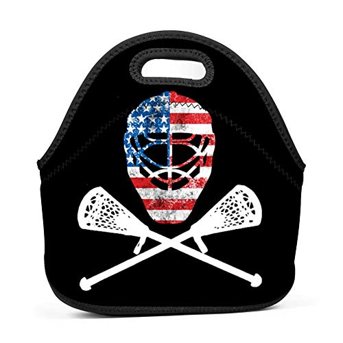 Sticks Lacrosse Crossed (Boys Girls Funny Lacrosse Helmet Crossed Sticks Lunch Bag Insulated Lunch Tote Outdoor Travel Picnic Carry Case Bento Bag Lunchbox Handbags with Zipper)