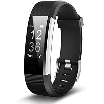 NAttnJf Bluetooth Sports Fitness Health Tracker Waterproof Smart Wristband Heart Rate Monitor Fitness Tracker Step Counter for Android iOS Black Estimated Price -