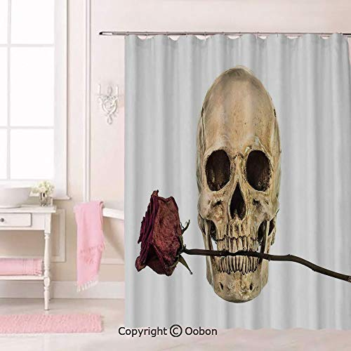 Oobon Skull with Dry Red Rose in Teeth Anatomy Death Eye Socket Jawbone Halloween Art Decorative, Fabric Bathroom Decor Set with Hooks, 84 Inches Extra Long]()