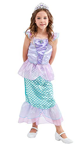 TOKYO-T Ariel Costume for Kids Little Mermaid Princess Dress Up with Tiara (Size 7-8) Purple ()