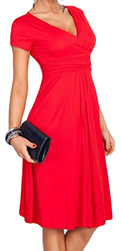 Sportiva Dell'impero Corta V Il Rosso Cromoncent Manica Scollo Donna Vestito Partito Con Pieghettato Vita A 1BBUqx
