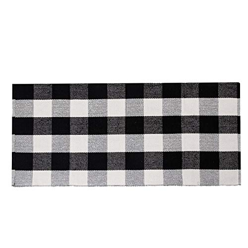 SHACOS Buffalo Plaid Runner Rug Cotton Throw Rug Doormat Washable Woven Cotton Rug Runner 23.6x51.2 inch for Doorway Kitchen Laundry Room (2'x4'4