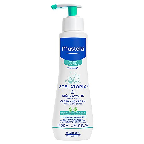 Mustela Stelatopia Cleansing Cream, Baby Body Wash for Extremely Dry to Eczema-Prone Skin, Fragrance-Free, 6.76 Fl. Oz. - Baby Cream Bath