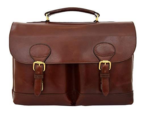 (Luxurious Leather Briefcase for Mens Brown Classy Business Laptop Bag Organiser Buddy)
