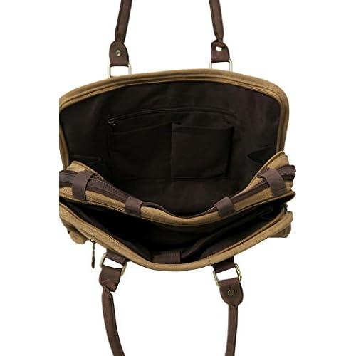 4b4fae3ddf56 ANNE KOKKE Fashion Canvas Genuine Leather Trim Travel Briefcase ...