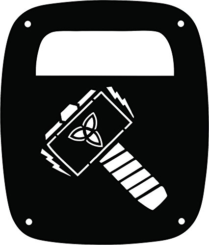 JeepTails Thor Hammer - Jeep CJ or Wrangler Tail Lamp Covers - Black - Set of 2