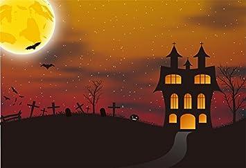 Cartoon Halloween Backdrop 8x6.5ft Haunted Castle Polyester Photography Background Golden Moon Orange Grimace Pumpkin Lamp Bat Masked Ball Costume Party Cosplay Hallowmas Baby Portrait Shoot