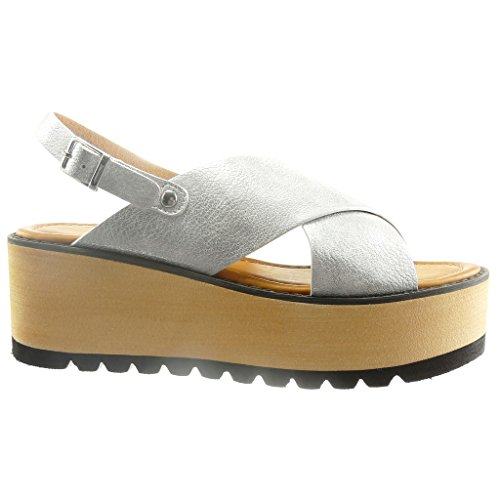 Angkorly - Scarpe da Moda sandali zeppe aperto donna tanga Tacco zeppa piattaforma 6.5 CM - Argento