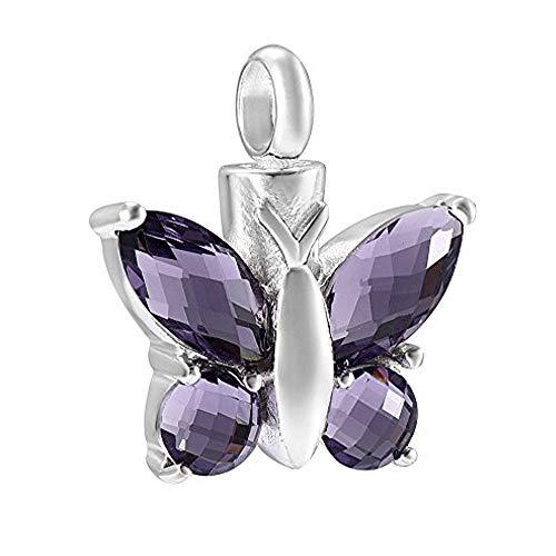 constantlife Elegant Butterfly Necklace 925 Sterling Silver Pendant Memory Keepsake Urn Necklace for Ashes (Purple 1)
