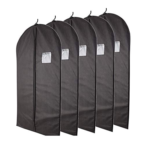 Plixio Garment Bags Suit Bag for Travel and Clothing Storage of Dresses, Dress Shirts, Coats- Includes Zipper and Transparent Window (Black- 5 Pack: 40