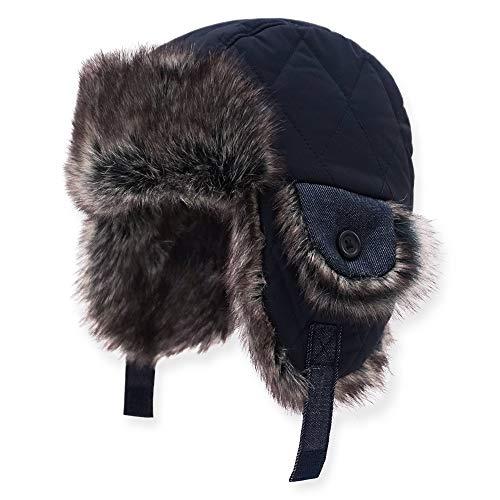 Keepersheep Baby Boy Ushanka Earflap Winter Trooper Hat Cap, Kids Trapper Hat (3-4T, Deep blue-01)