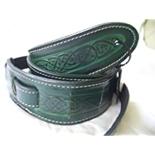 Straps by Leathercraft Made In U.K. CELTIC DESIGN REAL LEATHER GUITAR STRAP GREEN