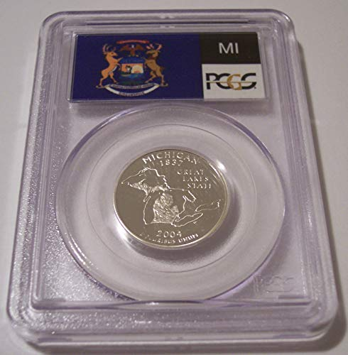 2004 S Michigan State Silver Proof Quarter PR69 DCAM PCGS Flag Label
