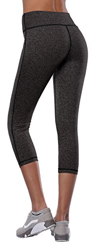 Aenlley Women's Activewear Yoga Pants High Rise Slim Fit Tights Cropped Capris Color Black Grey Size M